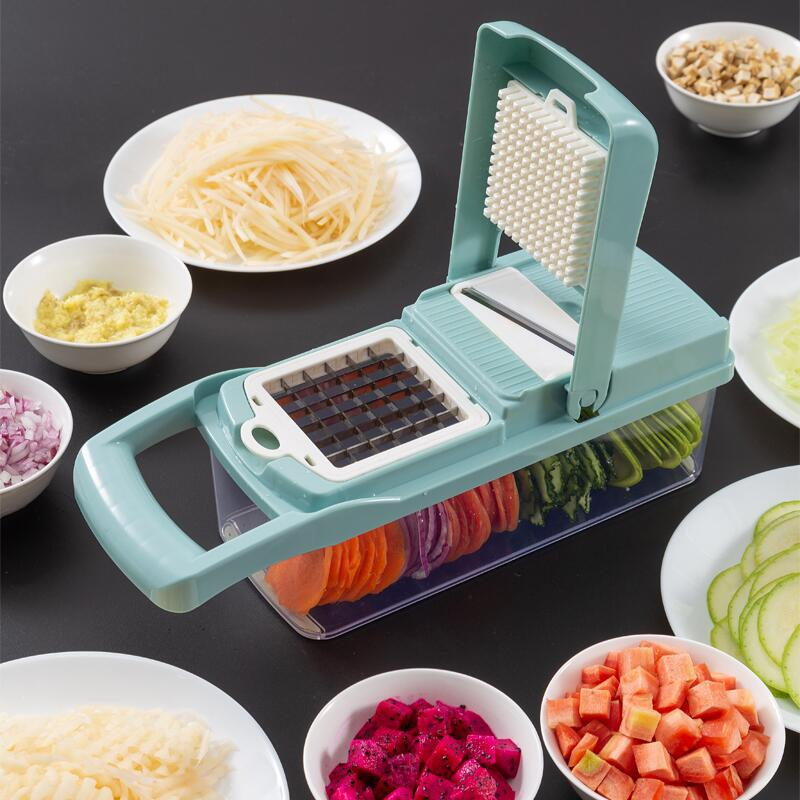 New 8 In 1 Chopping Artifact Multi-function Onion Chopper Diced Potato Wire Shredder Home Potato Chips Sliced Kitchen Cutter Set