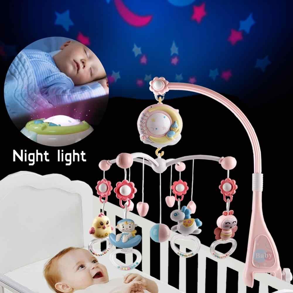 Bebek çıngıraklar beşiği Mobiles oyuncak tutucu dönen cep yatak çan müzik kutusu projeksiyon 0-12 ay yenidoğan bebek bebek erkek çocuk oyuncakları