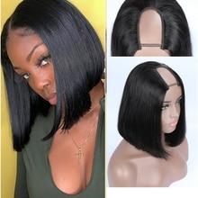 M&H 9A100% human hair u part wig short brazilian bob wigs silky straight lace u wig blond