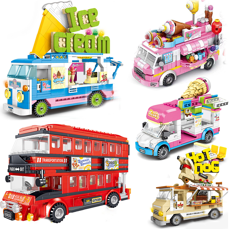 Compatible ice cream car sets model Building Blocks bricks ambulance Toys Racing Super london bus City vehicle camp(China)