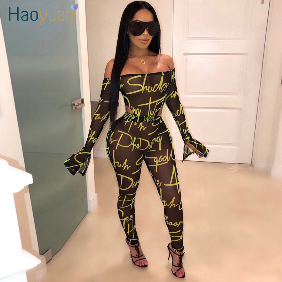 HAOYUAN Sexy Snake Print Rompers Women Jumpsuit Fashion Nova One Piece Outfit Overalls Off Shoulder Long Sleeve Bodycon Jumpsuit