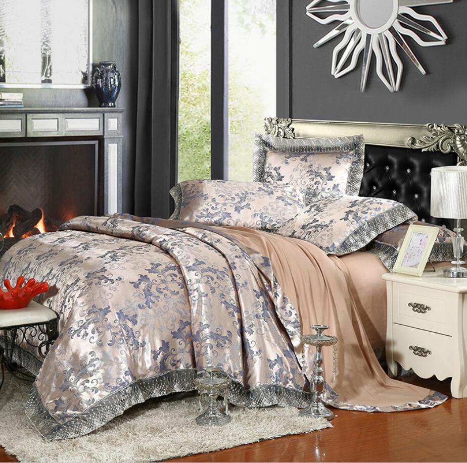 4/6pcs Satin Lace edge Duvet cover Bed sheet pillowcases Queen King Size Europe Jacquard Bedding set Luxury Wedding Home Decor