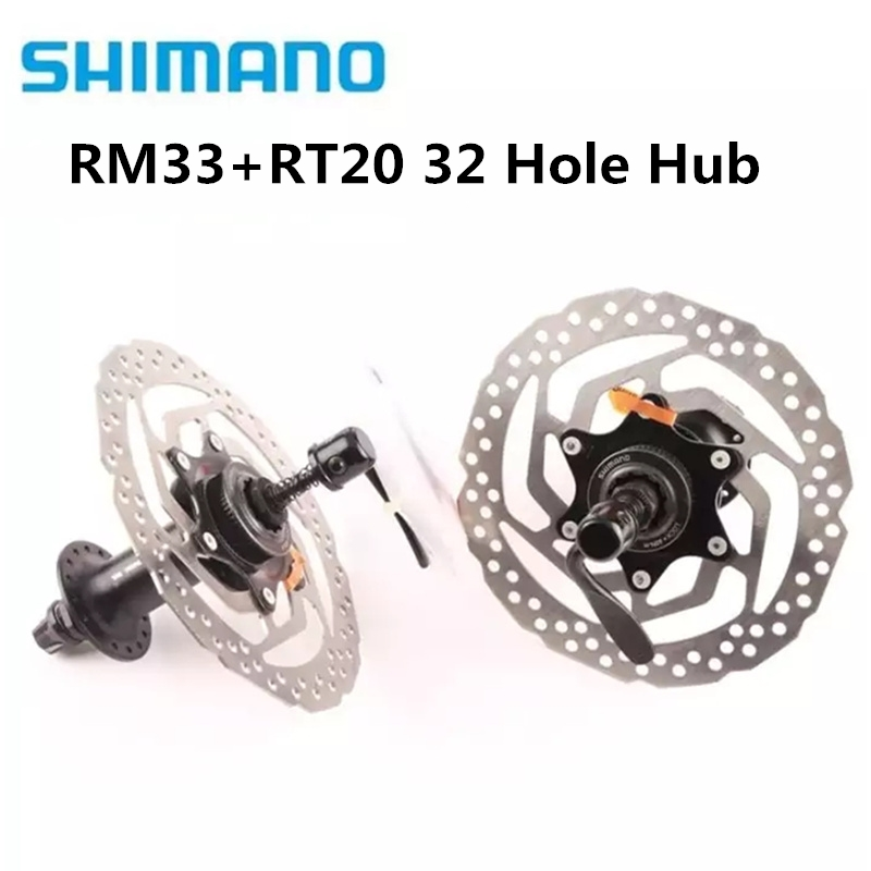 SHIMANO RM33 + RT20 160mm Hub & Rotor 8 9 10 SPEED MTB Mountain Bike Center Lock 32 Hole Bead Disc Brake Bicycle Cycle Hub