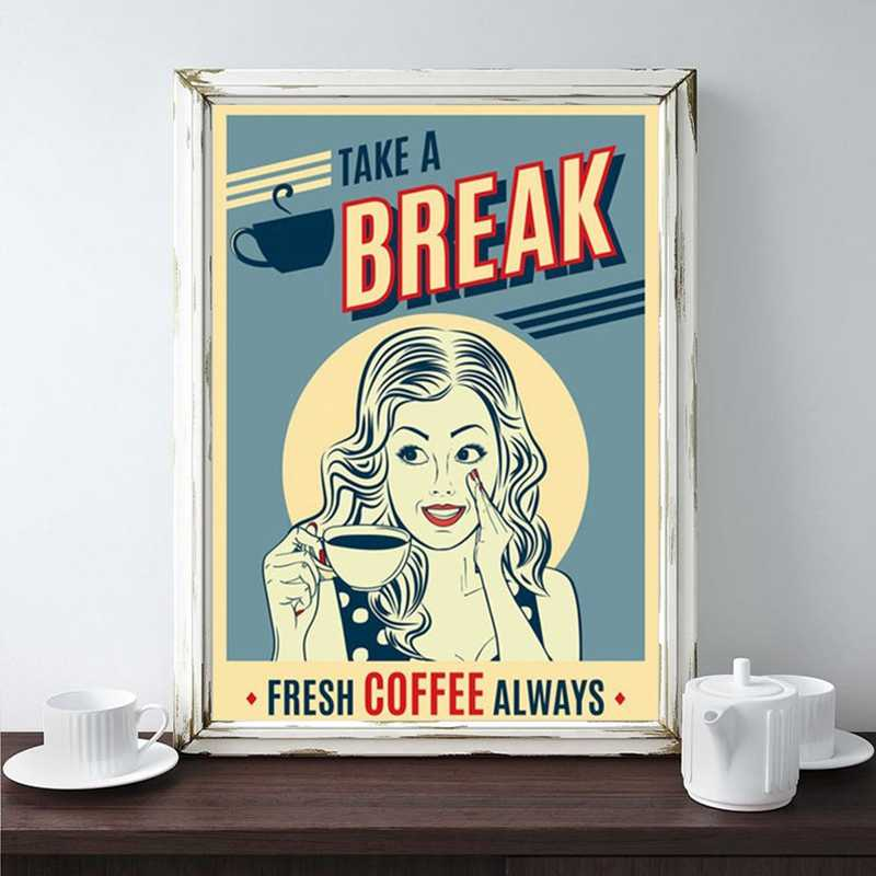 vintage coffee poster popart woman