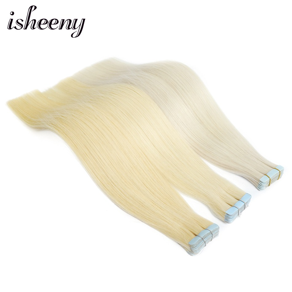 Isheeny 16 Inches Seamless Remy Tape In Human Hair Extension Blonde Invisible Tape On Hair Straight Salon Style