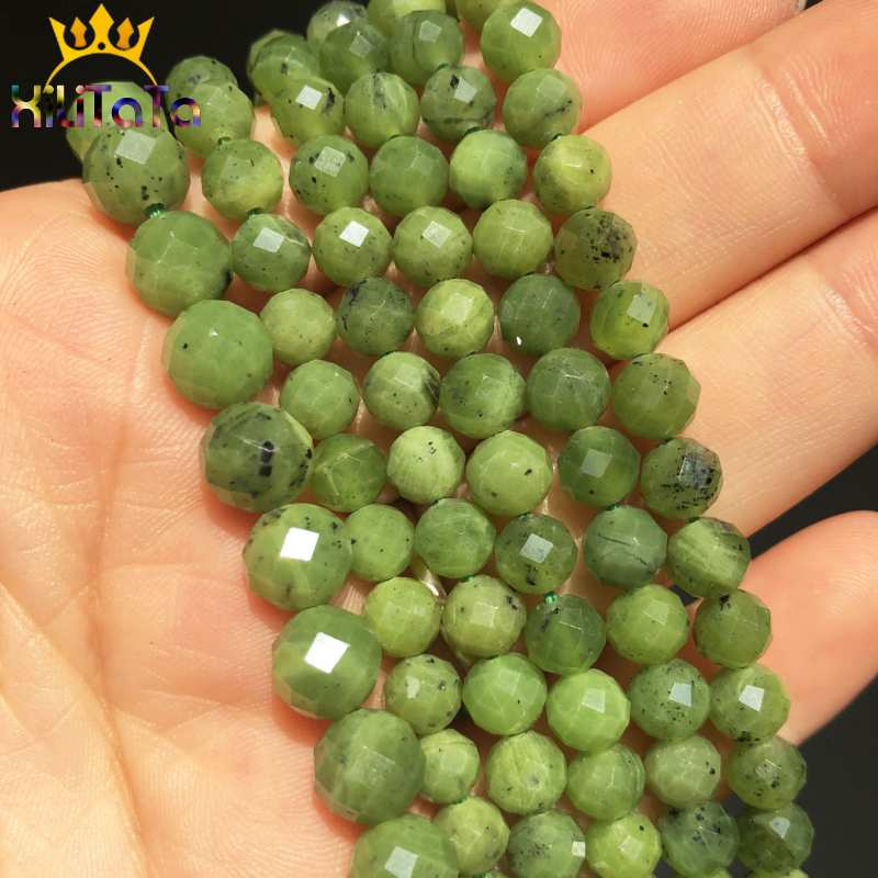 Natural Stone Green Canadian Jades Beads Faceted Round Loose Spacer Beads For Jewelry Making DIY Bracelet 7.5'' Strands 6mm/8mm