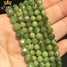Perles de Jades canadiennes vertes à facettes vertes, perles rondes et amples pour la fabrication de bijoux, brins Bracelet à bricoler soi-même 7.5 ''6mm/8mm