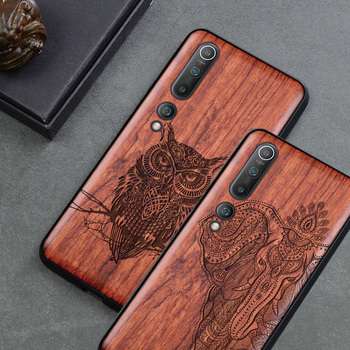 Elephant Maya Pattern Carved Wood Case For Xiaomi mi 10 redmi note 8 k30 pro Wood Phone Case For Huawei P40 P30 Honor 30 20 Pro