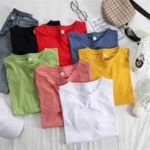 Хлопковая Базовая футболка для женщин черная белая зеленая синяя