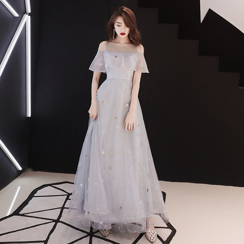 2020 Real Vestido De Festa Female 2020 New Party Noble Aristocratic Temperament Show Thin Dress Long Bridesmaid Dresses Dust