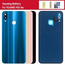 Części zamienne do Huawei Nova 3e tylna pokrywa baterii P20 Lite z obiektywem aparatu szklana obudowa tylnej szyby
