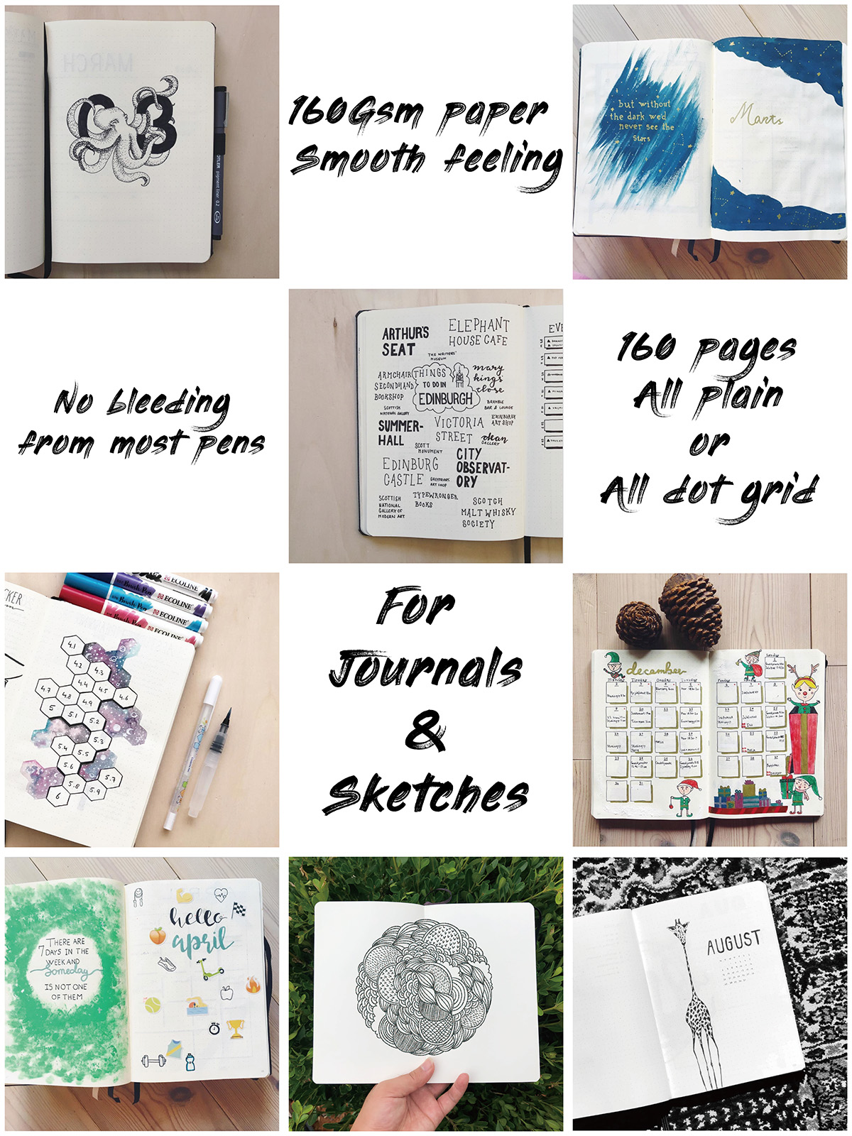 BUKE 5X5mm Journal Dot Gird Notebook 160 Pages, Size 5.7X8.2 Inch, 160Gsm Ultra Thick Bamboo Paper DIY Bujo Planner 3