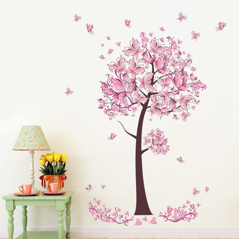 Pink Butterfly Flower Wall Sticker Bedroom Living Room Background Decorations Wallpaper Girl's Room Mural Decor Door Stickers