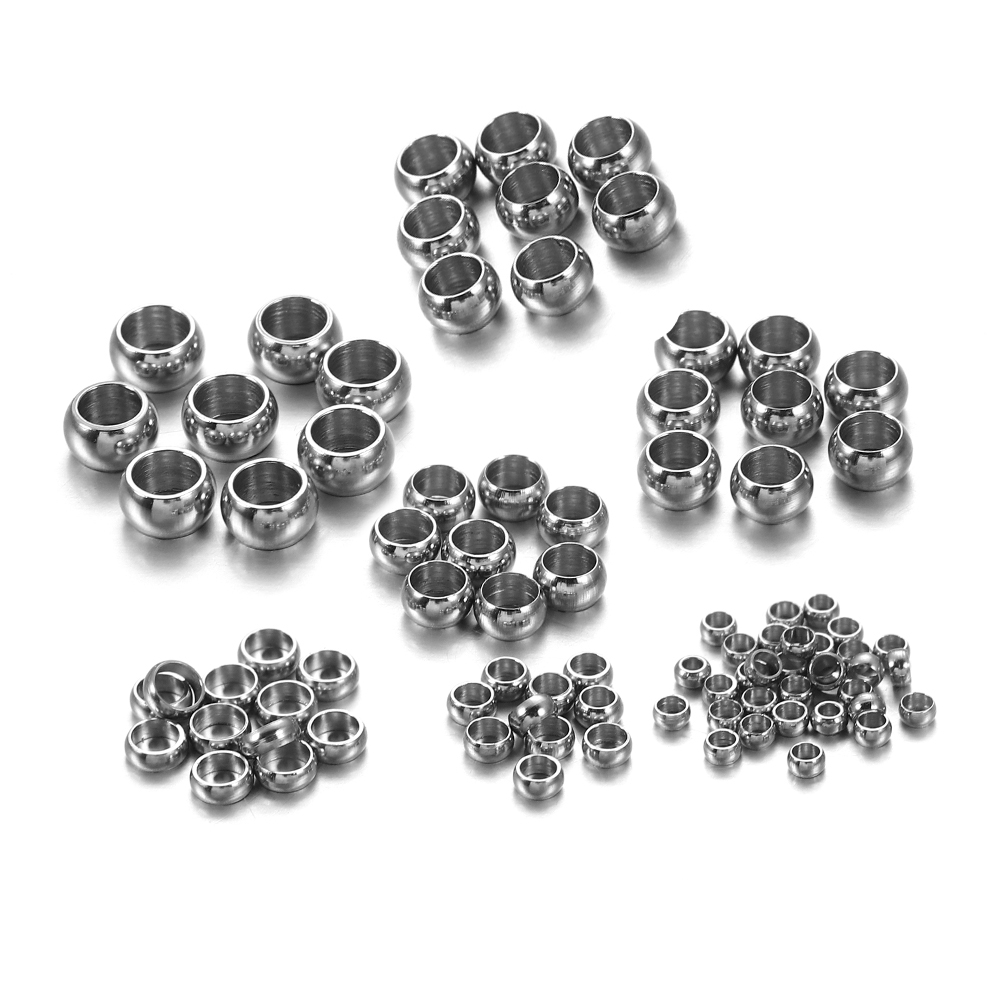 120pcs 1.5 2.5 4mm Stopper Spacer Beads Stainless Steel Big Hole Ball Crimp End Beads For Diy Jewelry Making Findings Supplies