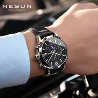 Suíça relógios de esportes dos homens nesun automático mecânico topo marca luxo grande moda couro relógio pulso masculino
