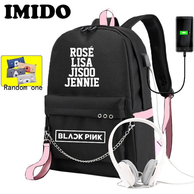 IMIDO BLACKPINK LISA Backpack For Girls School Students Usb Charging Shoulders Backpacks Teenagers Large Capacity Canvas Bags