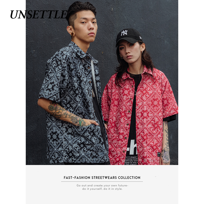 UNSETTLE 2020SS Harajuku Men Japanese Summer Streetwear Hawaiian Shirts Hip Hop Print Bandanna Shirt Casual Short Sleeve Tops
