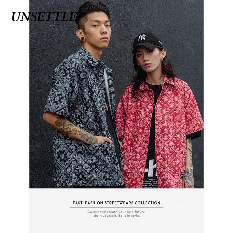 UNSETTLE 2020SS Harajuku Men Japanese Summer Streetwear Hawaiian Shirts Hip Hop Print Bandanna Shirt Casual Short Sleeve Tops