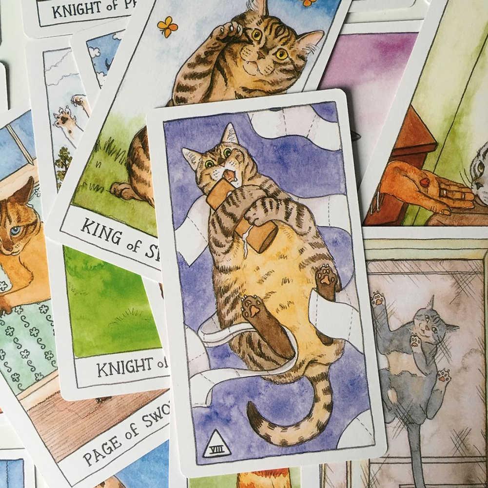 78Pcs Leuke Kat Tarot Kaarten Dek Dek Board Games Engels Voor Vrouwen Familie Gift Party Speelkaart Spel Entertainment games