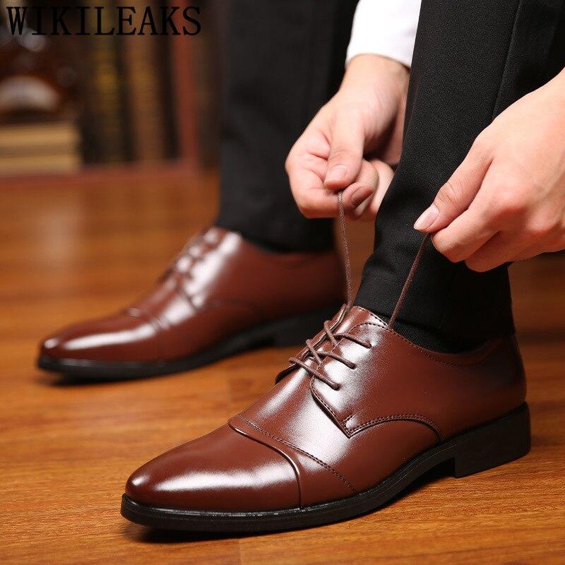 Business Shoes Men Oxford Leather Black