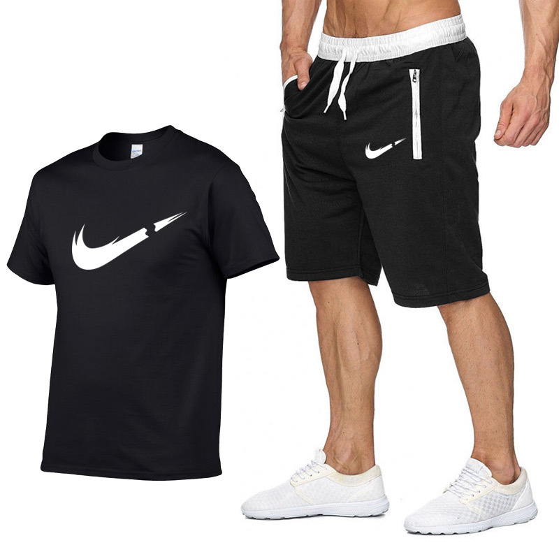 Fashion New Style Summer Men And Women Printed Pure Cotton Short-sleeved T-shirt + Zipper Pocket Shorts Leisure Sports Suit