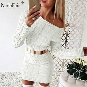Image 5 - Nadafair Sweater Dress Women Autumn Mini Long Sleeve Elegant Pink White Black Knitted Bodycon Winter Dress Ladies Vestidos
