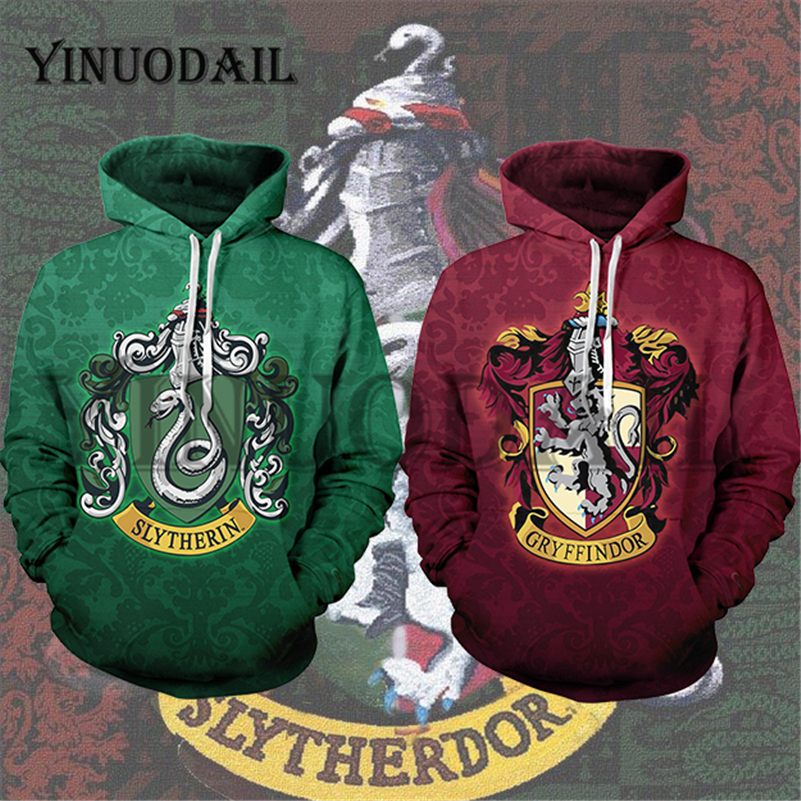YINUODAIL Mens Sporting Hoodies Wizardry 3D Hoody Sweatshirt Hogwarts Slytherin Gryffindor Bundle's Streetwear Cosplay Costume