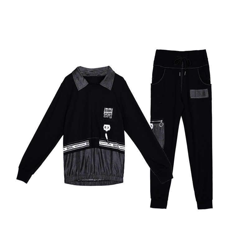 Runway TWEEDELIGE SET Vrouwen Vintage Trainingspakken Ulzzang Outfit Koreaanse Harakuju Streetwear Plus Size Leisure Sweatsuit Joggingbroek 2