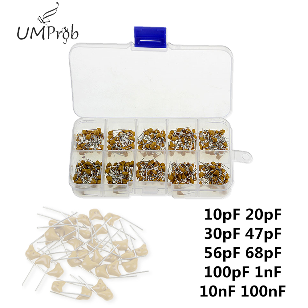 300Pcs 10Value <font><b>50V</b></font> 10pF To <font><b>100nF</b></font> Multilayer Ceramic Capacitor Assortment Kit Wholesale Price for PCB Diy Kit capacitor image
