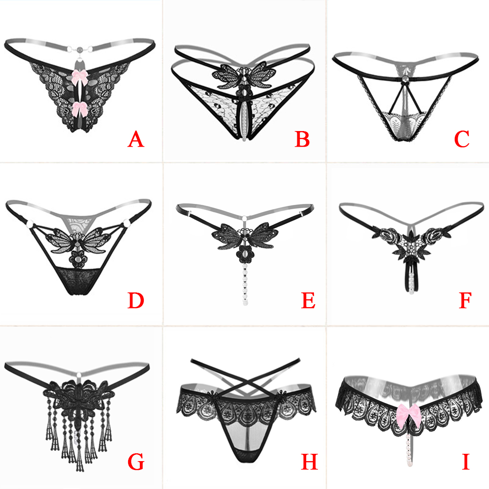 Sexy Women Underwear Panties Female Massage Pearl Lingerie G-stings Hollow Thong Young Girls Hot Embroidery Lace T-back Panties(China)