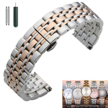 купить Metal Stainless Steel Watch Band Wrist Strap 16mm 18mm 20mm 22mm Replacement Butterfly Clasp Bracelet Men Women Black Rose Gold по цене 585.53 рублей
