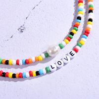Seed Beads Love Necklace Sets for Women Choker Multilayer with Name Fashion Pearl Boho Vintage Streetwear Collier Femme 3