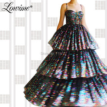 Robe De Soiree Long Tiered Prom Dresses Shiny Sequined Forma