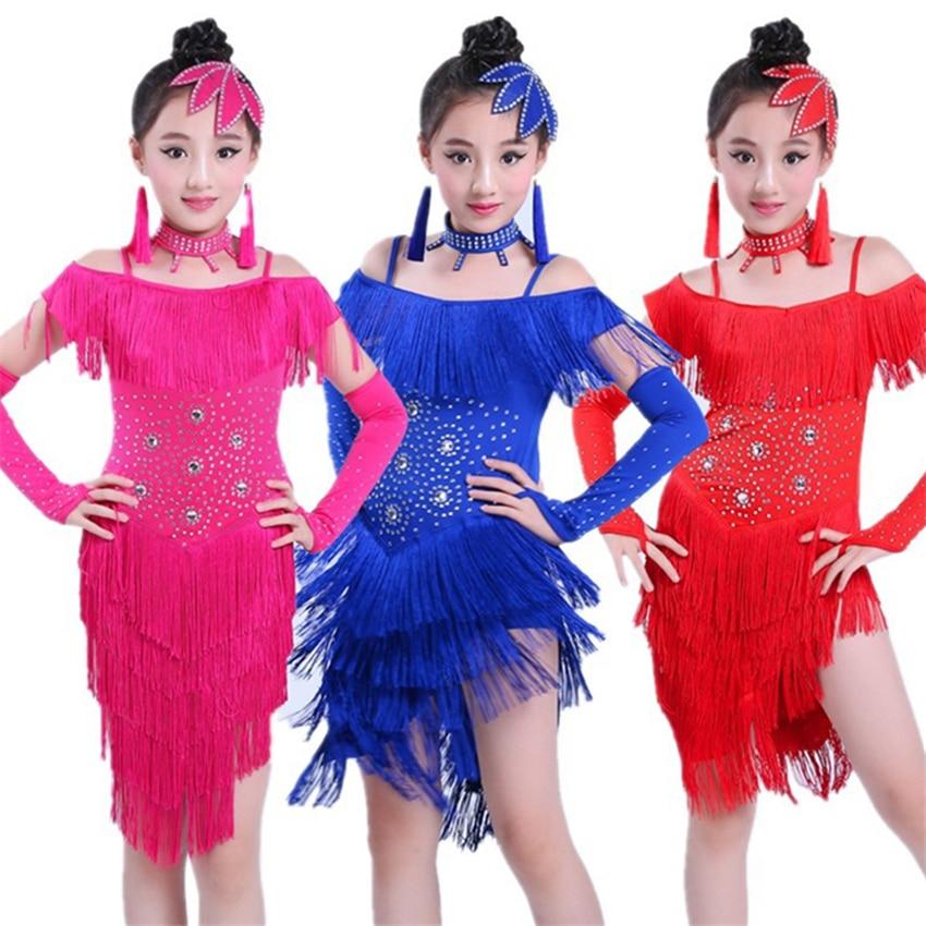 Kids Latin Dance Dresses For Girls Fringe Dress Tassel Salsa Sequin Stage Ballroom Performance Dancing Practice Clothing