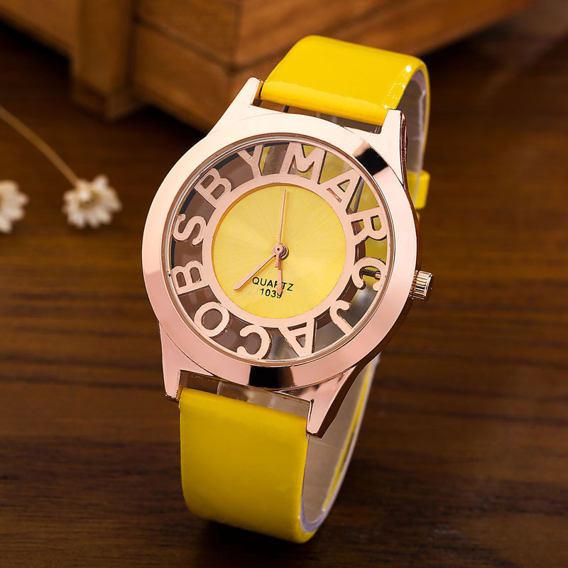 Women Watches Unisex Black Yellow Hollow Out Letters Quartz Watch Woman Elegant Ladies Wristwatch Casual Fashion