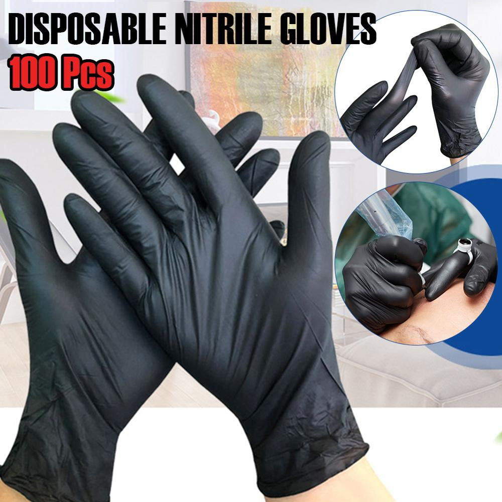 100Pcs Black Disposable Gloves Nitrile Universal Kitchen/Dishwashing/Work/Garden Gloves For Left and Right Hand Protective Glove|Safety Gloves| |  - title=