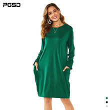 PGSD New Autumn winter Women clothes O-Neck Loose long sleeve big pocket simple solid casual Medium-length dress female Pullover