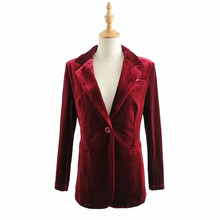 Ladies casual velvet jacket Spring 2020 new long sleeve women's blazer elegant Female Small suit Solid color top