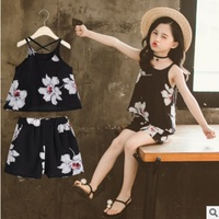 Girls Camisole Clothing set 2019 New Summer Cool Kids Cute Brief Clothes Sets Children's Big Flower Color Sets Size4 14 ly370