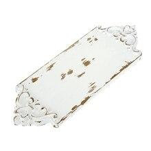Tabla de madera tallada bandeja Vintage estilo blanco hecho a mano postre plato pastel Mesa decoración café posavasos tapete para té