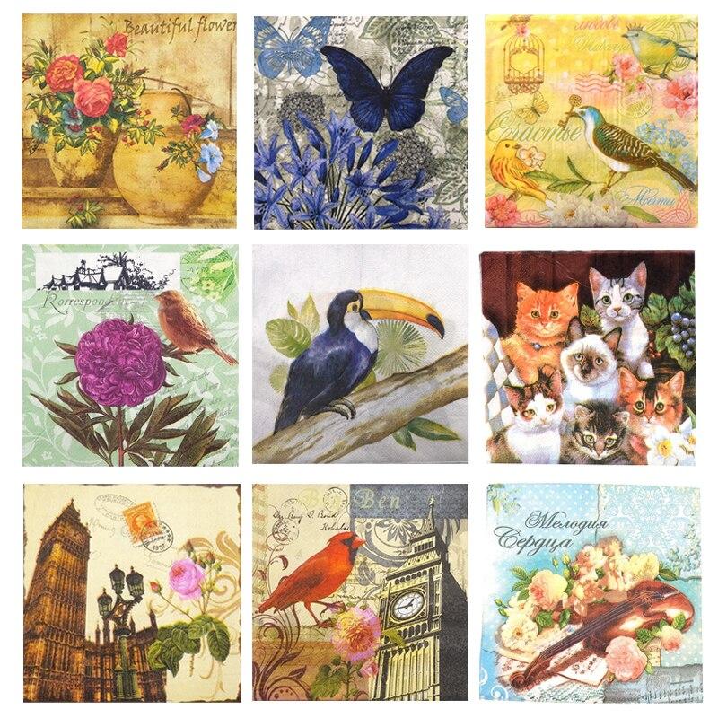 Decoupage Napkins Retro Vintage Birds Butterfly Floral Paper Napkins For Decoupage Disposable Decorative Party Tissue Tableware