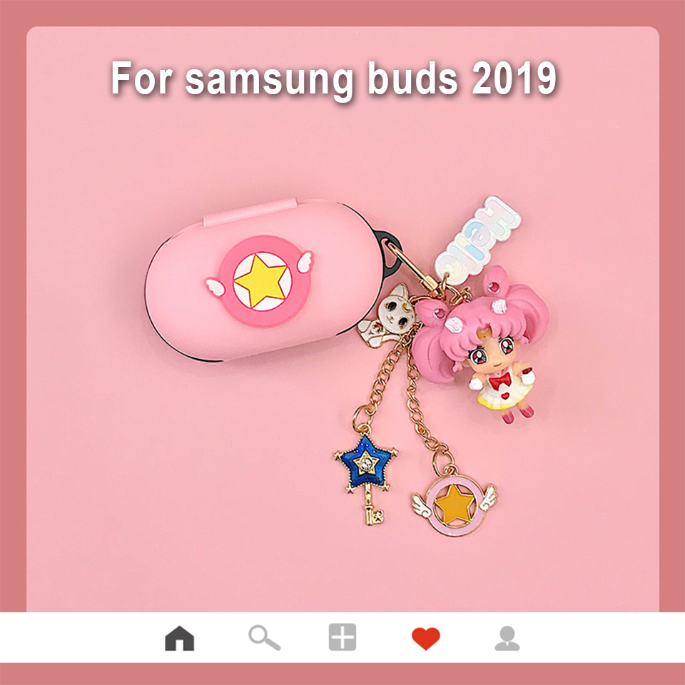 cheapest Cute Silicone Cover for Samsung Galaxy Buds 2019 Case Charging Box Sleeve Protect Case Bluetooth Earphone Skin Cartoon Girl Bag