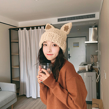 Ladies hat cat ears wool hat autumn and winter knit hat winter warm Korean version of the wild net red cold hat tide horslips horslips drive the cold winter away