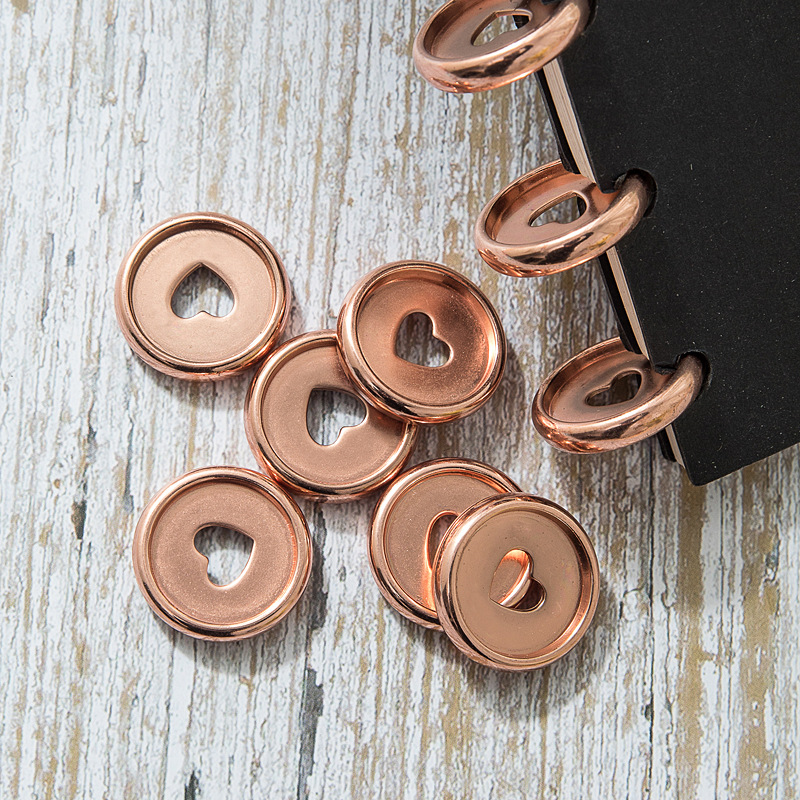 30Pc Rose Gold Notebook Binding Disc Mushroom Hole Plastic Button For Notepad Loose-leaf Discs Binding Ring Office Binder Buckle