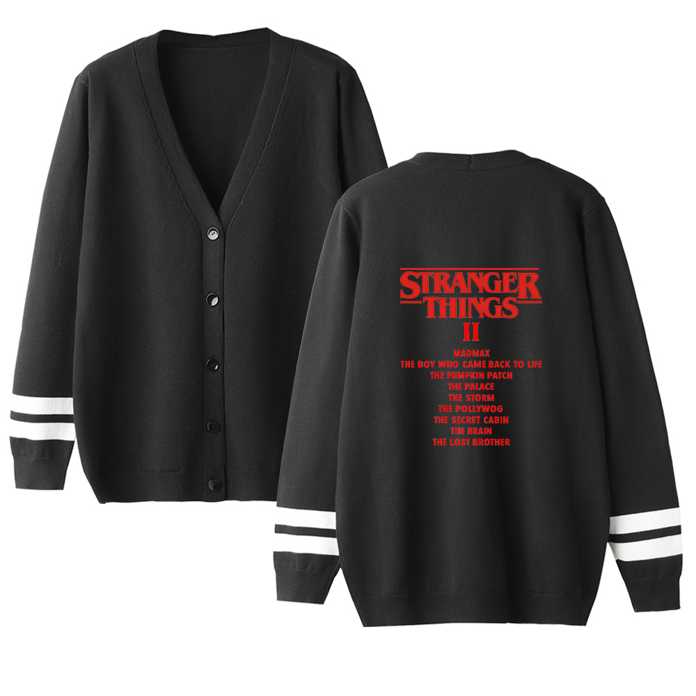 Stranger Things Sweater Men Women Cardigan Sweater V-Neck Kniting Sweater New Fashion Streetwear Lovers Sweater Female Sweate