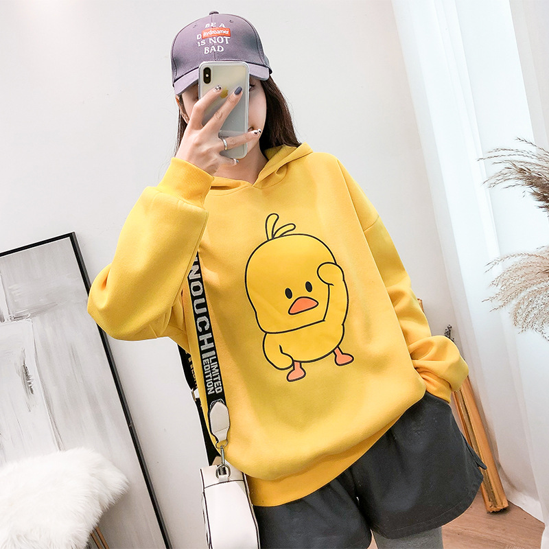 9801 # Photo Shoot 2018 Winter New Style Douyin Celebrity Style Small Yellow Duck Hoodie Thick Plus Velvet Student Coat Fashion