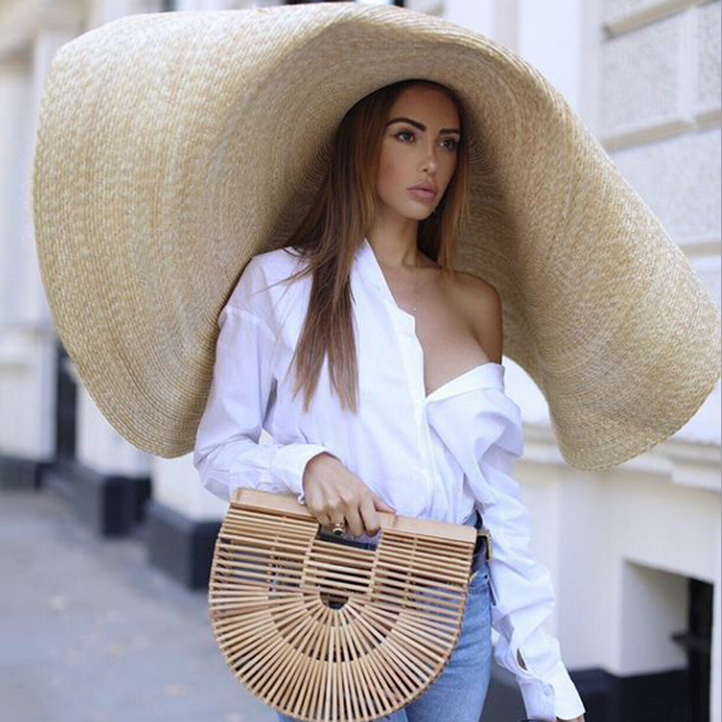 80cm Fashion Large Sun Hat Beach Anti-UV Sun Protection Foldable Straw Sombrero Lace Up Brim Straw Hat Collapsible Beach Gorras