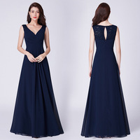 V neck Chiffon Bridesmaid Dress 2019 New Elegant Pleated Sleeveless Lace Dress A line Zipper up Dress Pretty Forever Dress