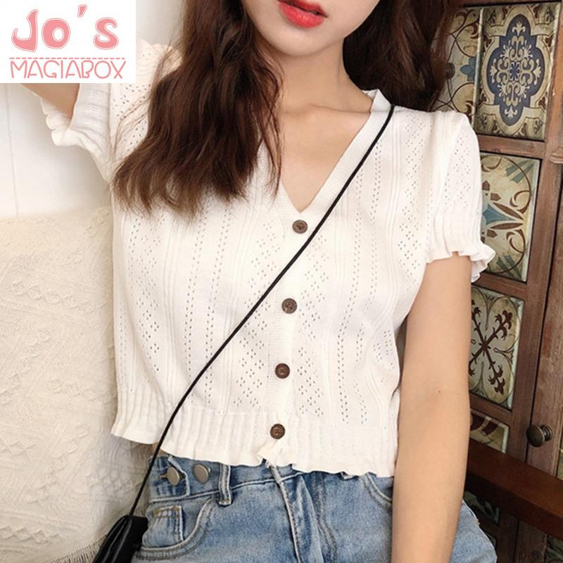 Casual Vintage V-Neck Women Solid Tops And Blouses Ladies Sweet Kawaii Ruffles Short Sleeve Kimono Knitted Shirts Blusas Mujer