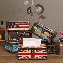 Американский стиль, домашняя коробка для салфеток, ретро кожаный диспенсер, настольный держатель для кофейни, декоративная бумажная коробка для хранения полотенец, салфеток
